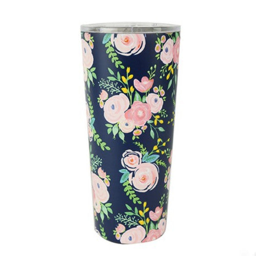 Large Floral Stainless Steel Tumbler