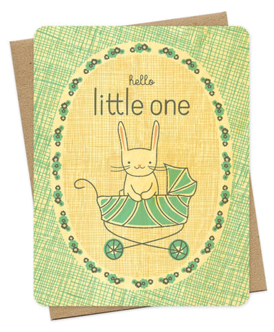 Wood Grain Little One Baby Card