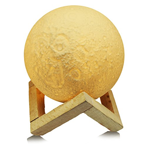 Led Moon Nightlight Lamp w/ Wooden Base