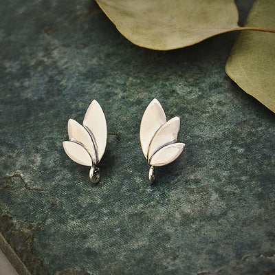 Sterling Silver Three Petal Post Earrings with Loop