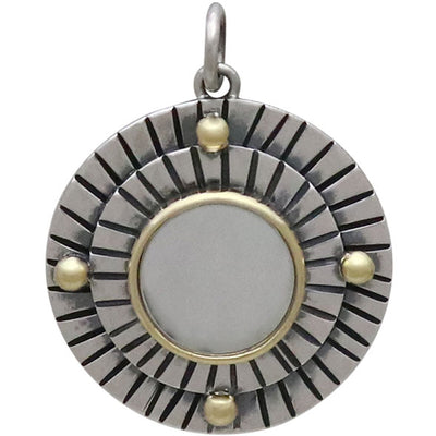 Sterling Silver Mirror Pendant with Hammered Lines