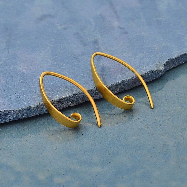 24K Gold Plated Smooth Ear Hook with Hidden Loop,