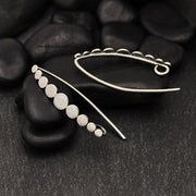 Sterling Silver Ear Hooks with Flat Graduated Dots