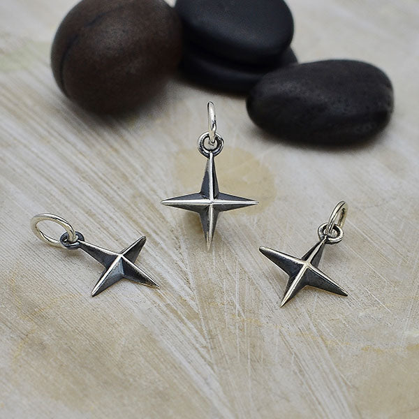 Sterling Silver Ridged 4 Point Star Charm