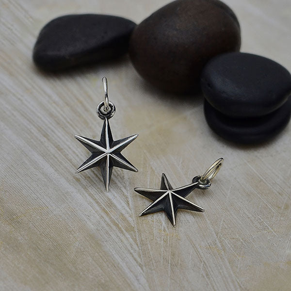 Sterling Silver Ridged 6 Point Star Charm