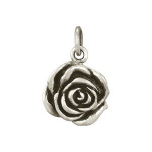 Sterling Silver Rose Charm - Textured - Poppies Beads n' More
