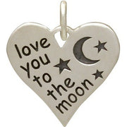 Sterling Silver Message Charm -Love You to the Moon - Poppies Beads n' More