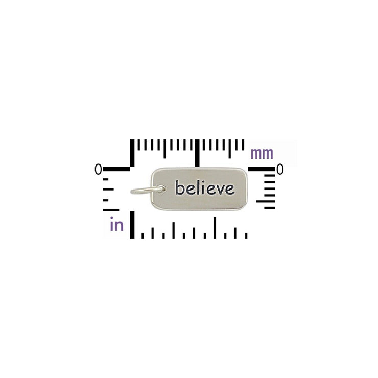 Sterling Silver Word Tag - Believe - Poppies Beads n' More