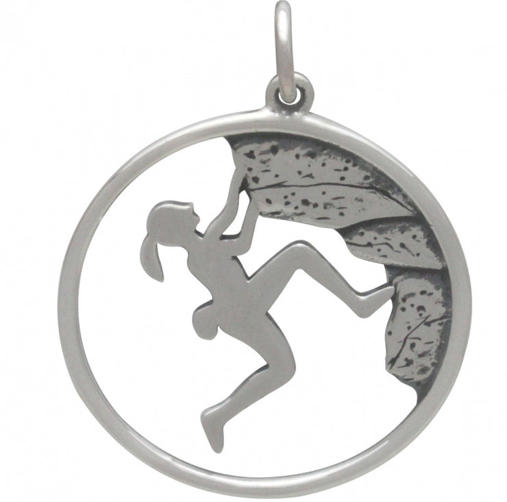 Sterling Silver Rock Climbing Girl Pendant - Poppies Beads n' More