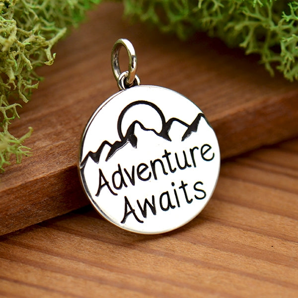 Sterling Silver Message Pendant - Adventure Awaits - Poppies Beads n' More