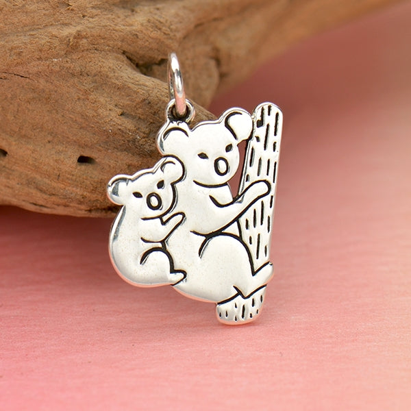 Sterling Silver Mom and Baby Koala Charm - Poppies Beads n' More