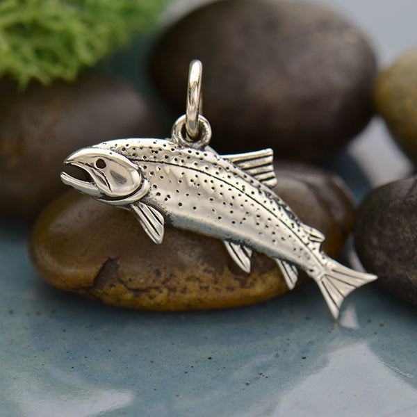 Sterling Silver Trout Charm - Fish Charm - Poppies Beads n' More