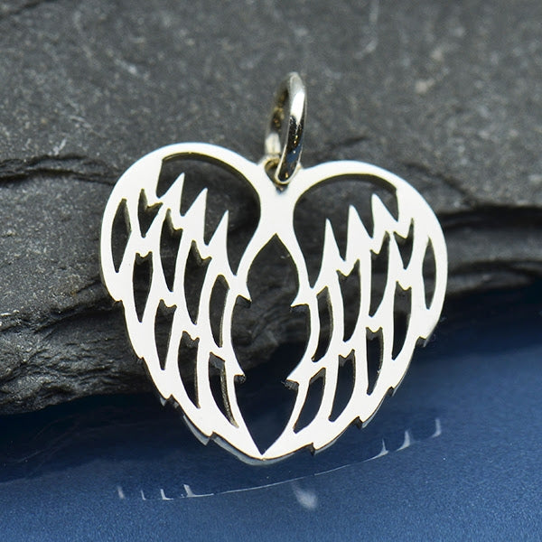 Sterling Silver Double Angel Wing Charm - Openwork - Poppies Beads n' More