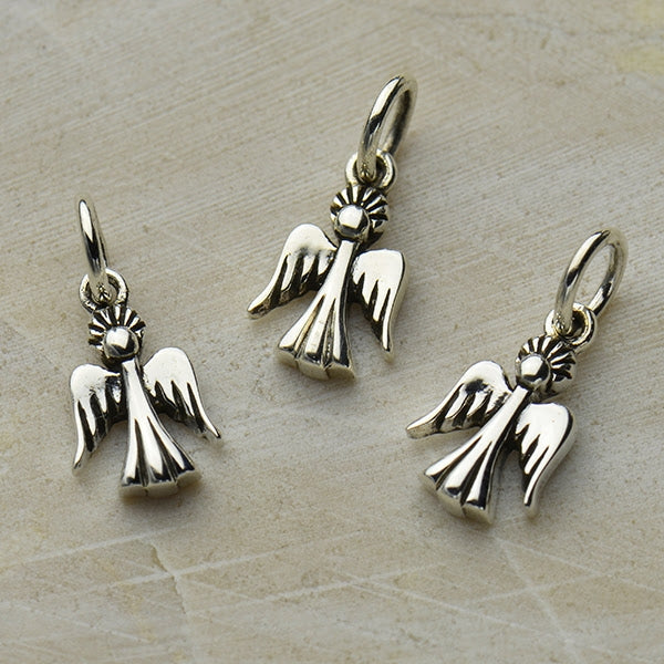 Sterling Silver Tiny Angel Charm - Poppies Beads n' More