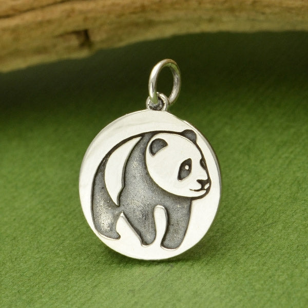 Sterling Silver Panda Charm Etched on Disk - Poppies Beads n' More