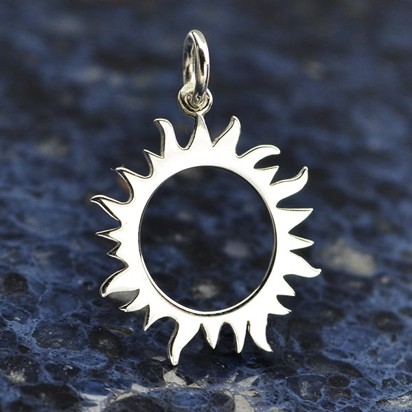 Sterling Silver Eclipse Charm - Sun Charm - Poppies Beads n' More