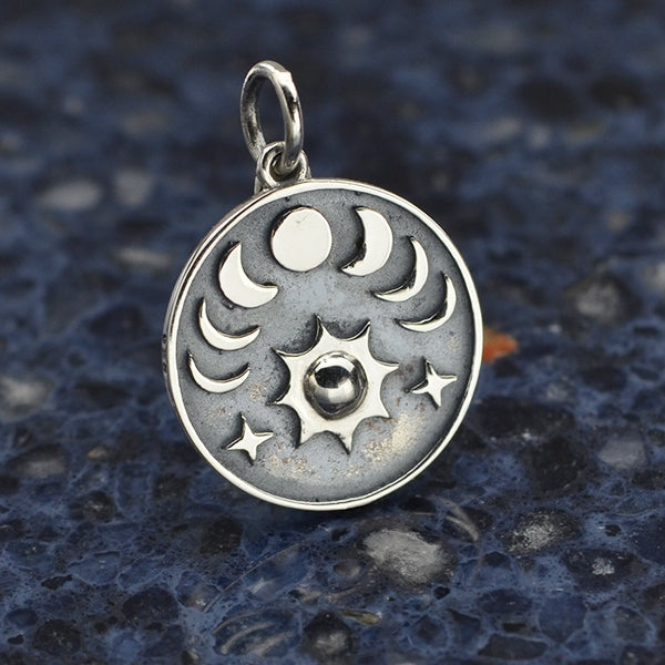 Sterling Silver Sun and Phases of the Moon Charm - Poppies Beads n' More