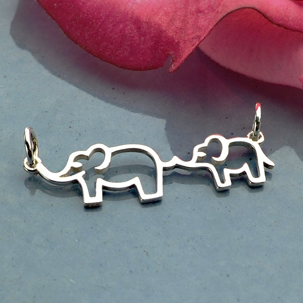 Sterling Silver Mama and Baby Elephant Festoon - Poppies Beads n' More