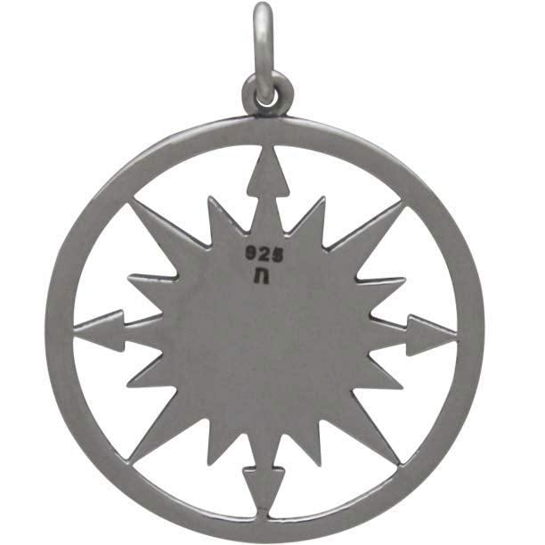 Sterling Silver Compass Pendant with Mountain Center - Poppies Beads n' More