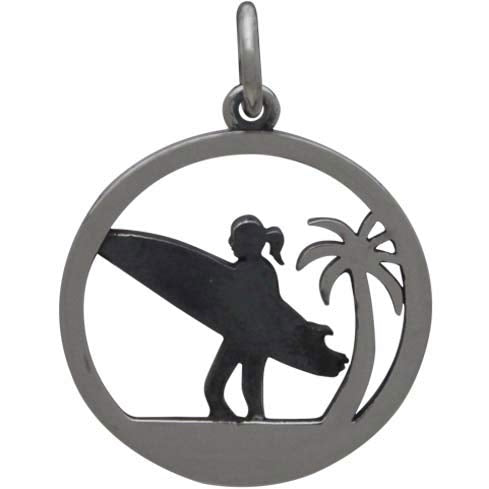 Sterling Silver Surfer Charm with Palm Tree - Poppies Beads n' More