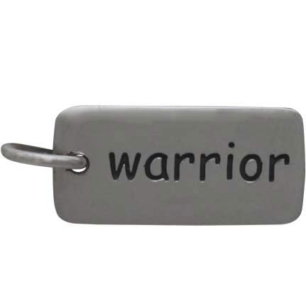 Sterling Silver Word Charm - Warrior - Poppies Beads n' More