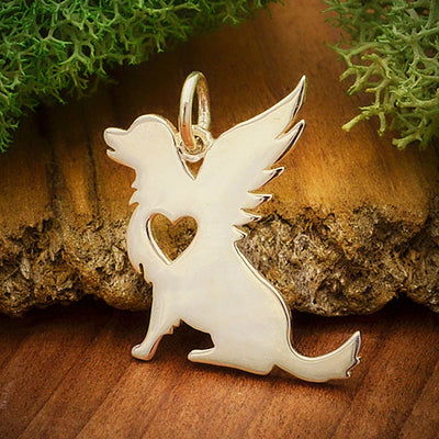 Sterling Silver Angel Dog Charm - Poppies Beads n' More