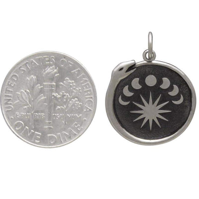 Sterling Silver Ouroboros Charm with Moon Phases,
