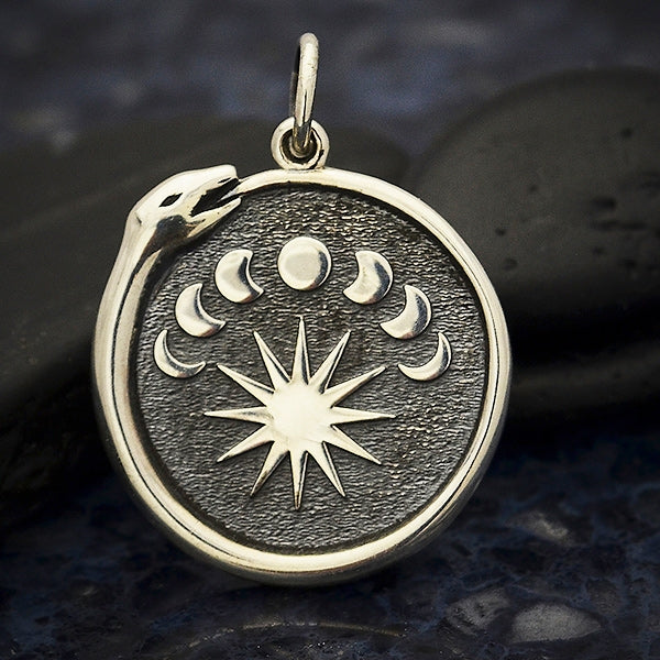 Sterling Silver Ouroboros Charm with Moon Phases - Poppies Beads n' More