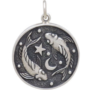 Sterling Silver Astrology Pisces Pendant - Poppies Beads n' More