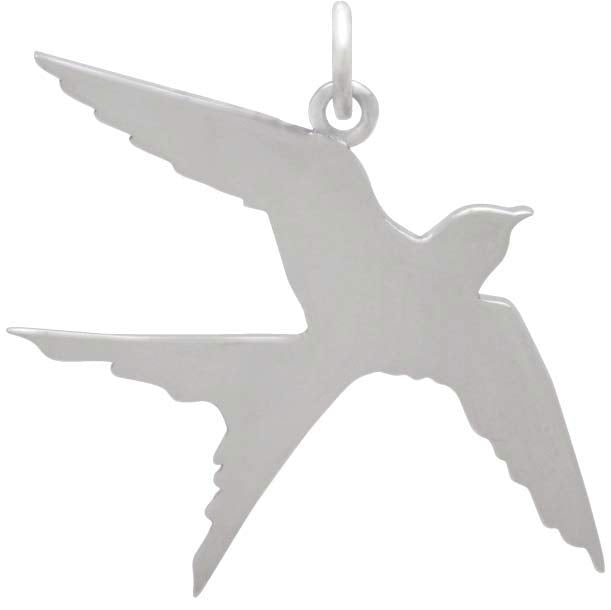 Sterling Silver Swallow Pendant - Poppies Beads n' More