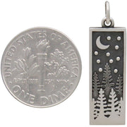 Sterling Silver Rectangle Pine Tree Charm with Moon - Poppies Beads n' More