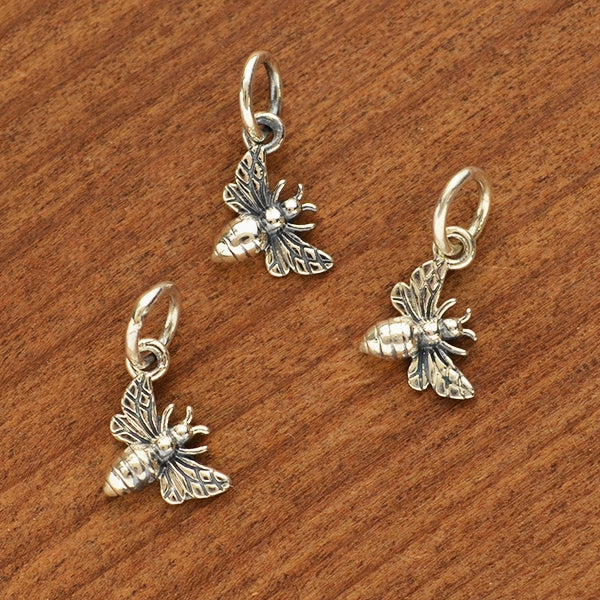 Sterling Silver Tiny Honey Bee Charm - Poppies Beads n' More