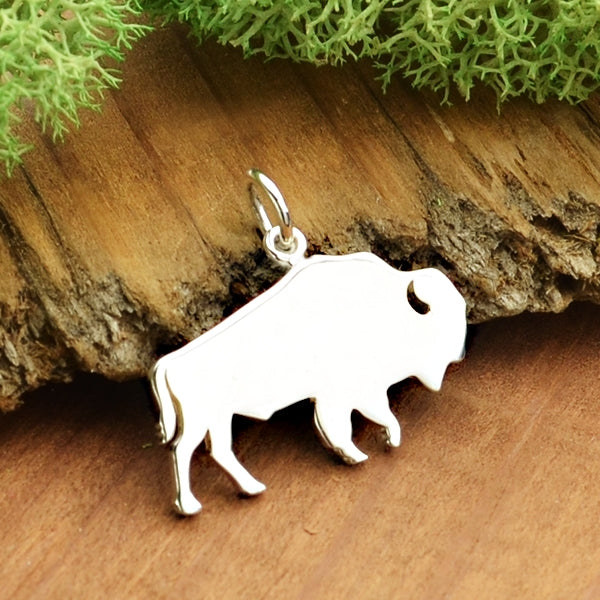 Sterling Silver Buffalo Charm - Wild & Free - Stamping Blank, - Poppies Beads n' More