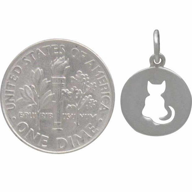 Sterling Silver Cat Charm Cutout on Disk - Poppies Beads n' More
