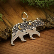 Sterling Silver Bear Charm with Mountains and Bronze Moon - Poppies Beads n' More