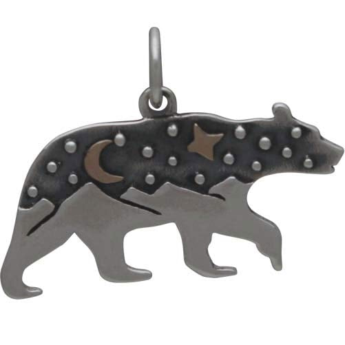 Sterling Silver Bear Charm with Mountains and Bronze Moon