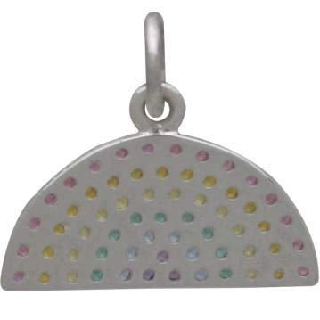 Sterling Silver Rainbow Charm with Nano Gem Crystals,