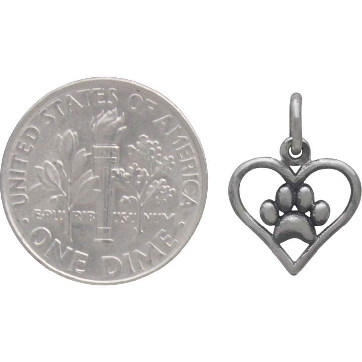 Openwork Heart Charm with Paw Print - Poppies Beads n' More