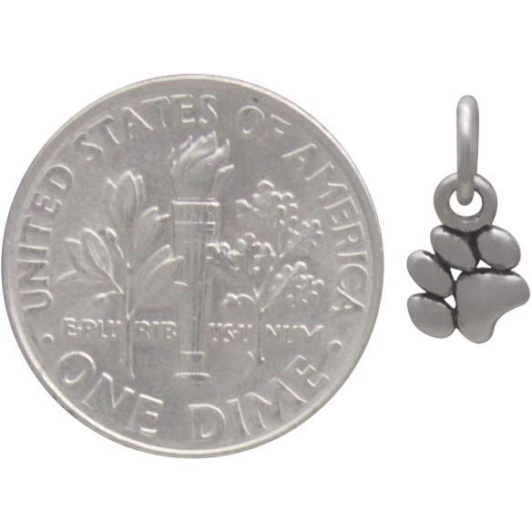 Sterling Silver Tiny Puffy Paw Charm - Poppies Beads n' More
