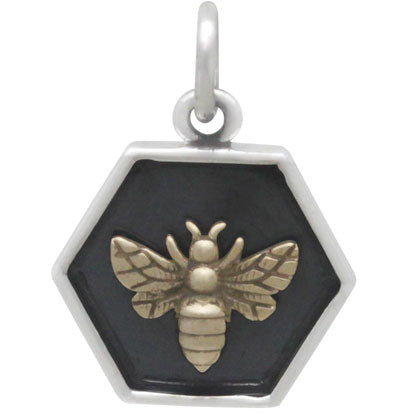 Hexagon Charm with Bronze Bee (3 Finishes) - Poppies Beads n' More