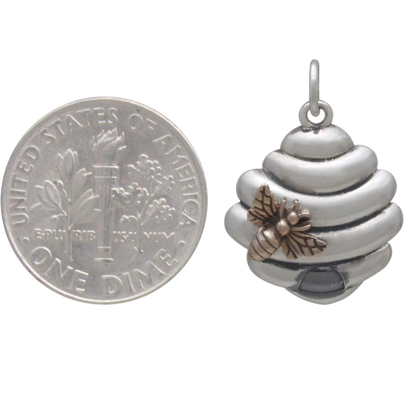 Sterling Silver Beehive Charm with Bronze Bee, Nina Designs
