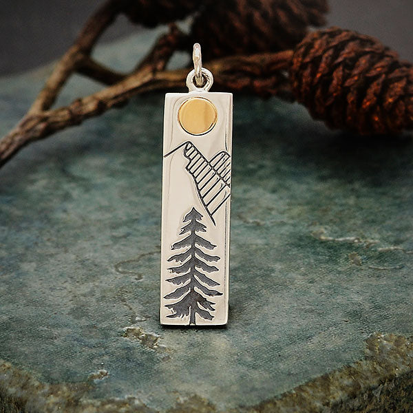 Sterling Silver Pine Tree Charm with Bronze Sun,