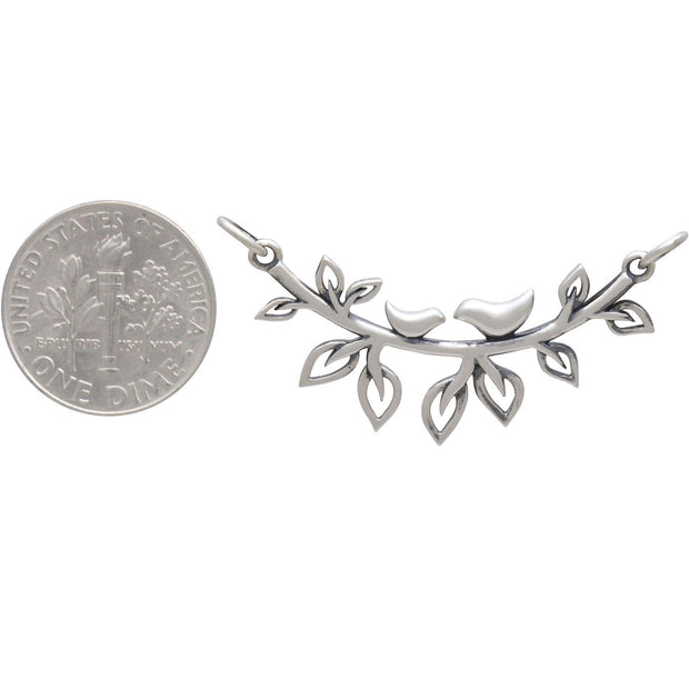 Sterling Silver Mama and Baby Bird on Branch Festoon - Poppies Beads n' More