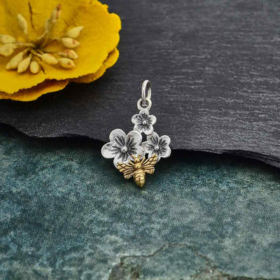 Silver Triple Cherry Blossom Charm with Bronze Bee - Poppies Beads n' More