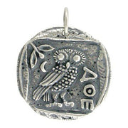 Ancient Coin Charm with Athena's Owl - Poppies Beads n' More