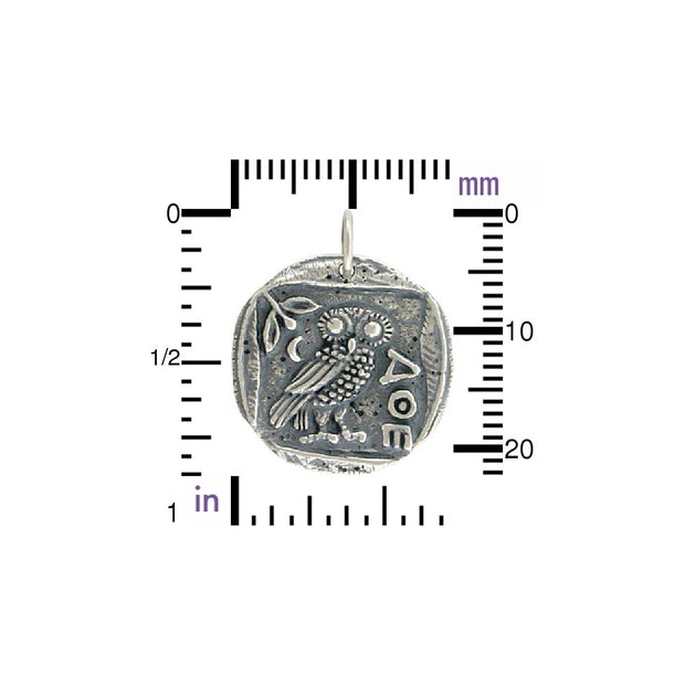 Ancient Coin Charm with Athena's Owl