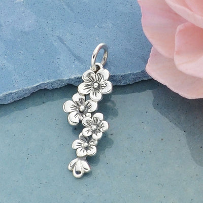 Sterling Silver Cherry Blossom Cluster Charm, Nina Designs