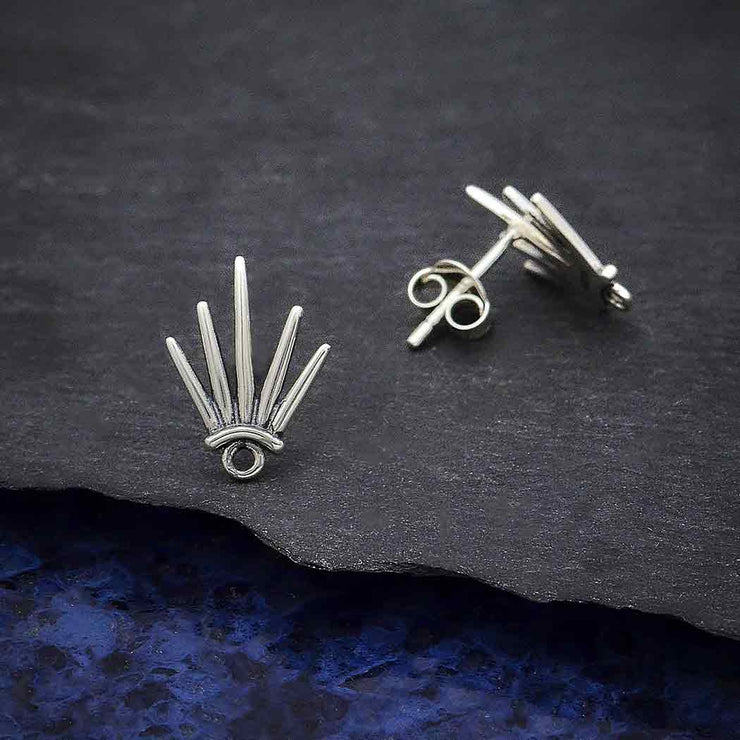 Sterling Silver Five Spike Post Earring with Loop