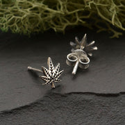 Sterling Silver Pot Leaf Post Earrings - Poppies Beads n' More