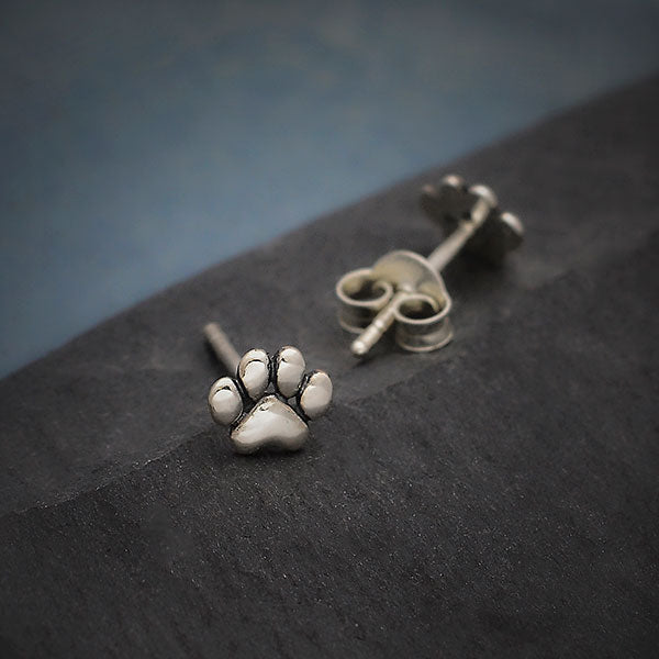 Sterling Silver Tiny Puffed Paw Post Earrings